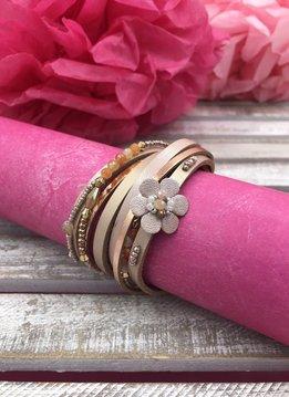 Pink Multi-Strand Wrap Bracelet with A Petite Flower