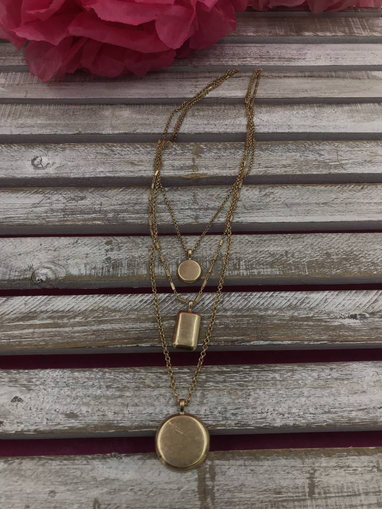 Three Layered Gold Necklace with Round and Square Pendant