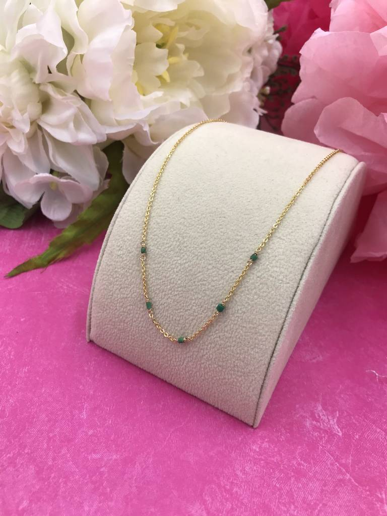 14K Gold Filled Green Turquoise Unity Necklace