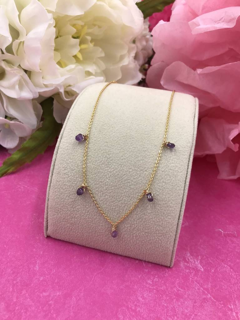 14K Gold Filled Amethyst Confetti Necklace