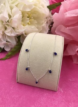 Sterling Silver Navy Jade Confetti Necklace