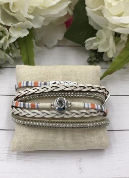 Cream and Orange Mini Snap Magnetic Bracelet