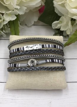 White and Gray Mini Snap Magnetic Bracelet