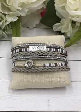 White and Beige Mini Snap Magnetic Bracelet