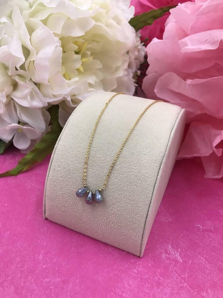 14K Gold Filled Triple Labradorite Necklace