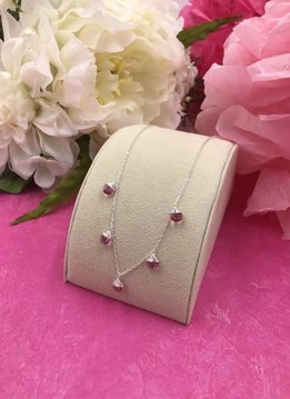 Sterling Silver Rose Swarovski Confetti Necklace