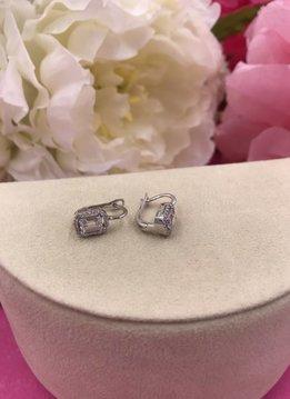 Italian Sterling Silver Swarovski Huggie Earrings