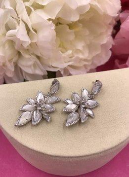 Italian Sterling Silver Mother of Pearl Flower Earrings