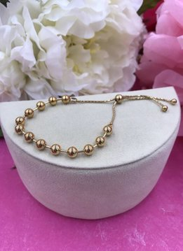 Italian Sterling Silver Gold Plated Ball Adjustable Bracelet