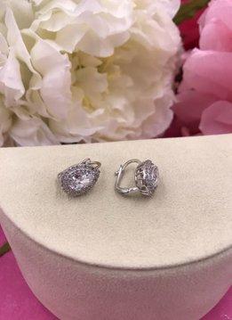 Italian Sterling Silver Huggie Earrings with Swarovski Crystals in a Teardrop Shape