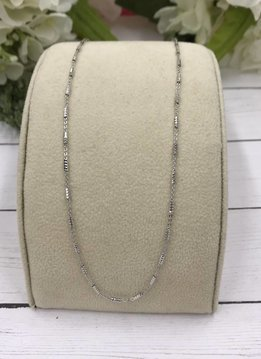 Qualita in Argento Italian Sterling Silver Link and Faceted Bar Chain 20inch