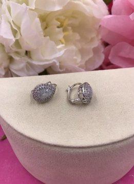 Italian Sterling Silver Huggie Earrings with Moonstone in a Teardrop Shape