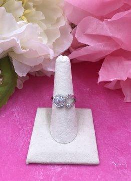 Italian Sterling Silver Moonstone Adjustable Ring