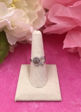 Italian Sterling Silver Quartz Adjustable Ring