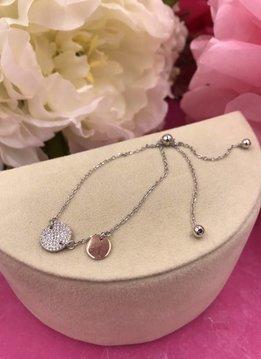Italian Sterling Silver Circle Adjustable Bracelet