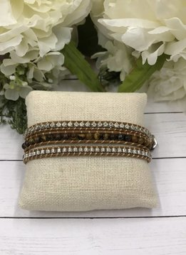 Handmade Wrap Bracelet interwoven in Tan cord with Silver and Brown Beads