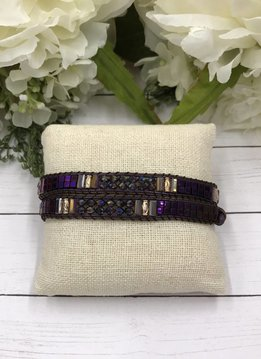 Handmade Wrap Bracelet interwoven in Purple and Brown cord with Purple Beads