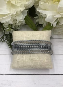 Handmade Wrap Bracelet interwoven in Grey cord with Grey Beads