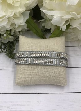 Handmade Wrap Bracelet interwoven in Grey and White cord with White and Metal Beads