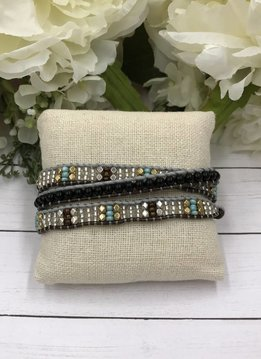 Handmade Wrap Bracelet interwoven in Grey and Brown cord with Multi-Color Beads