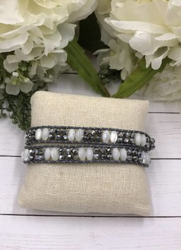 Handmade Wrap Bracelet interwoven in Grey Cord with White and Silver Beads