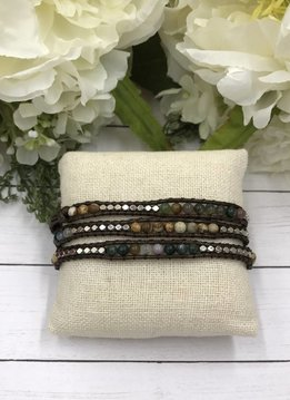 Handmade Wrap Bracelet interwoven in Brown cord with Green and Brown Beads