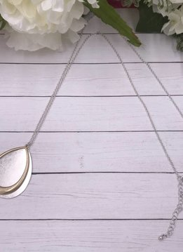 Silver Long Necklace with Silver and Gold Teardrop Pendant