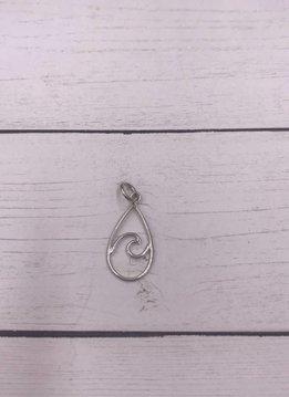 Sterling Silver Wire Wave Teardrop Shape Charm