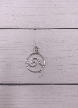 Sterling Silver Wire Wave Circle Shape Charm