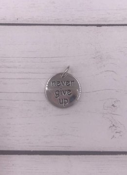 Sterling Silver Never Give Up Charm