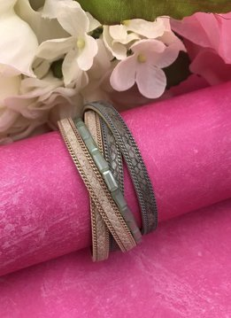 Gray and Pink Wrap Bracelet