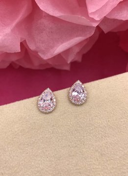 Rose Gold AAA Cubic Zirconia Tear Drop Earrings