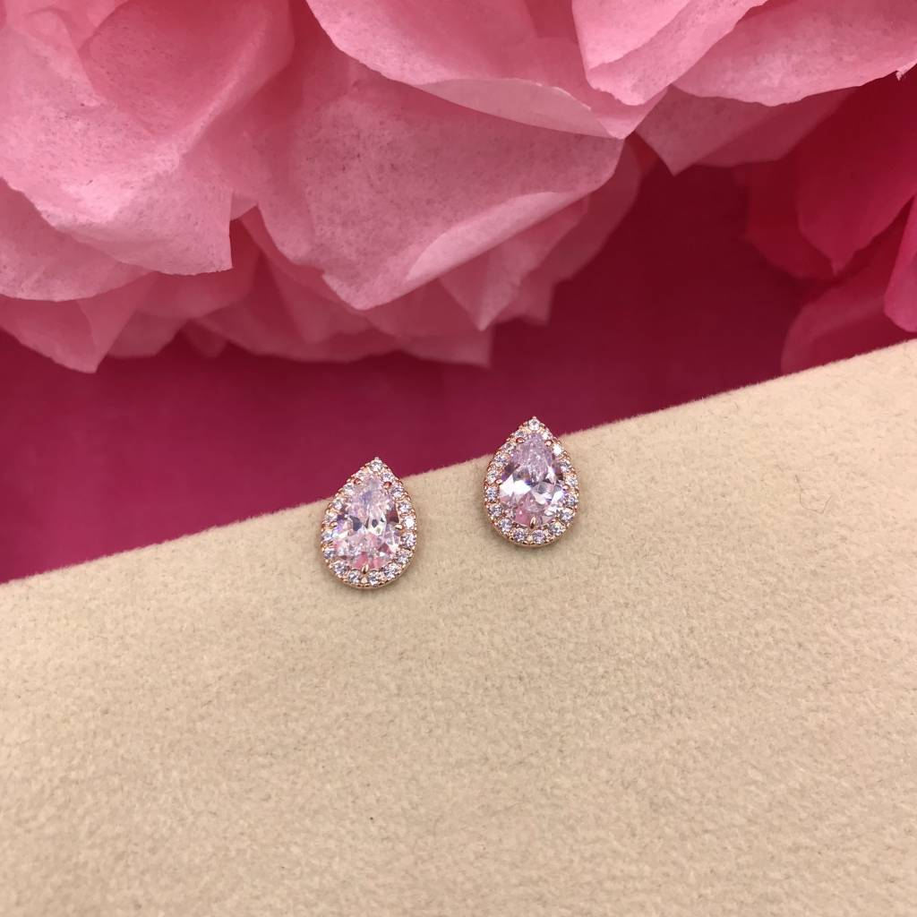 Rose Gold AAA Cubic Zirconia Tear Drop Earrings