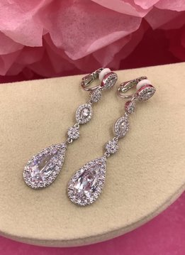 Silver AAA Cubic Zirconia Dangling Tear Drop Clip-On Earrings