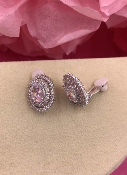Silver AAA Cubic Zirconia Oval Clip-On Earrings