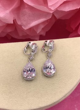 Silver AAA Cubic Zirconia Large Dangling Tear Drop Clip-On Earrings