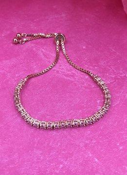 Rose Gold AAA Cubic Zirconia Adjustable Bracelet