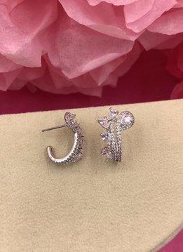 Silver AAA Cubic Zirconia Decorative Tear Drop Earrings
