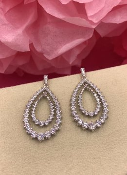 Silver AAA Cubic Zirconia Open Tear Drop Dangling Earrings with Round Stones