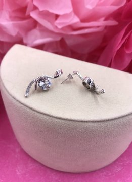 Wave Round Rhodium Plated Earrings Created with Swarovski Crystals