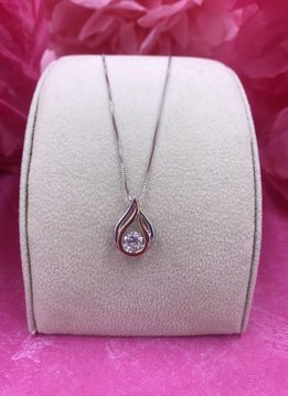 Swarovski and Cubic Zirconia Dancing Stone Pendant with Two Tone