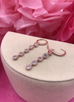 Rose Gold Long Drop Dangle Pave Earrings Created with Swarovski Crystals