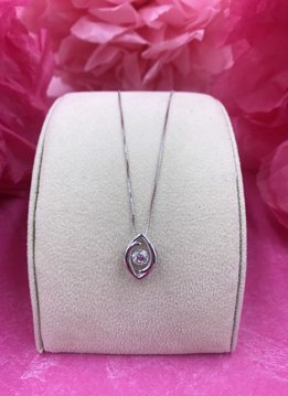 Sterling Silver Swarovski and Cubic Zirconia Dancing Stone Marquise Pendant