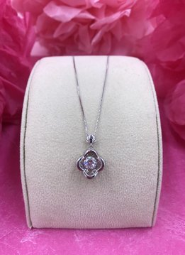 Sterling Silver Cubic Zirconia Dancing Stone Double Heart Pendant