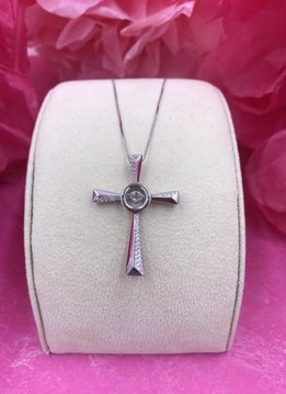 "Sterling Silver Dancing Stone Pendant 18"" Box Chain Fancy Cross Paved with Cubic Zirconia"