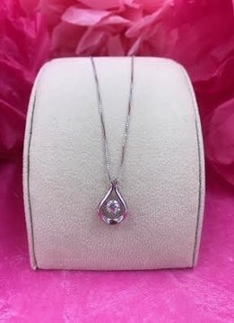 "Sterling Silver Clear Cubic Zirconia Dancing Stone Pendant on an 18"" Box Chain"