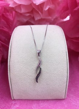 Sterling Silver Necklace Created with Hematite Swarovski Crystals