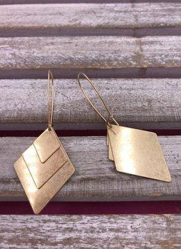 Gold Triple Triangle Dangle Earrings