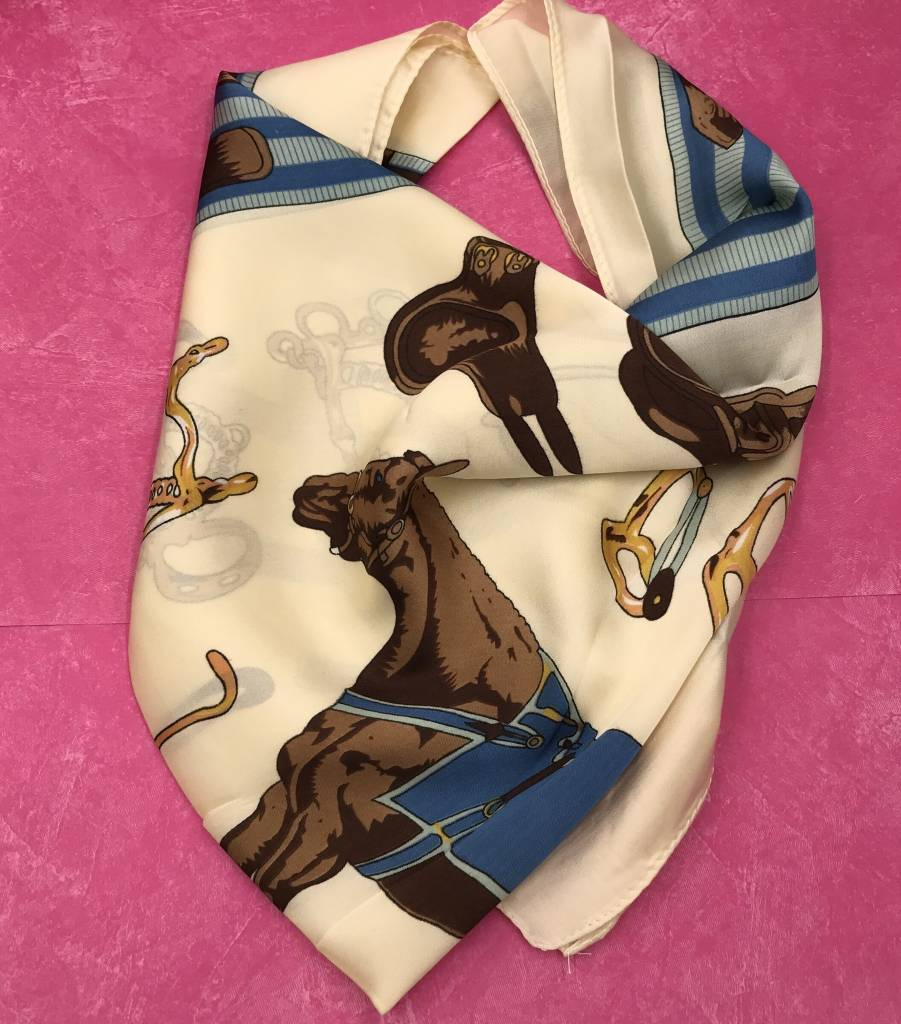 Beige and Blue Horse Themed Sqaure Silk Scarf