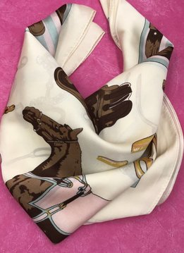 Beige and Pink Horse Themed Square Silk Scarf